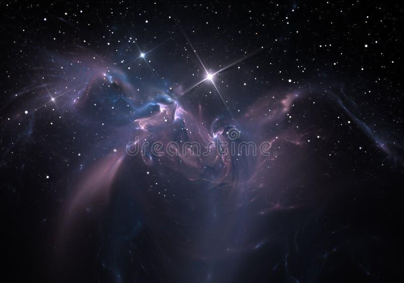 necrópolis a nuvem do gás e da poeira obstrui a luz de estrelas distantes ilustração stock
