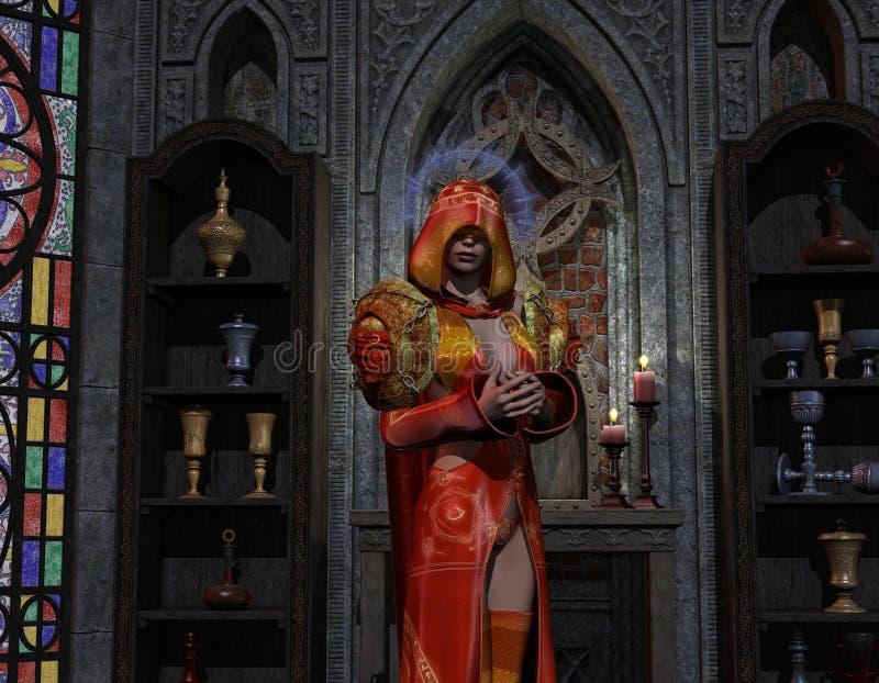Necromancer all'altare illustrazione di stock