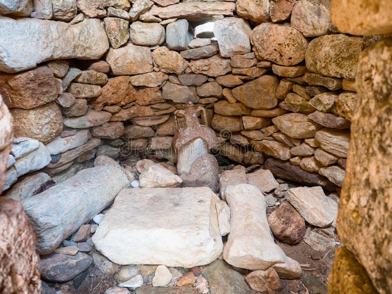 Necromancy of Poseidon in Cape Matapan, Greece. Necromancy of Poseidon in Cape Matapan or Tainaron in Mani, Peloponnese, Greece royalty free stock image