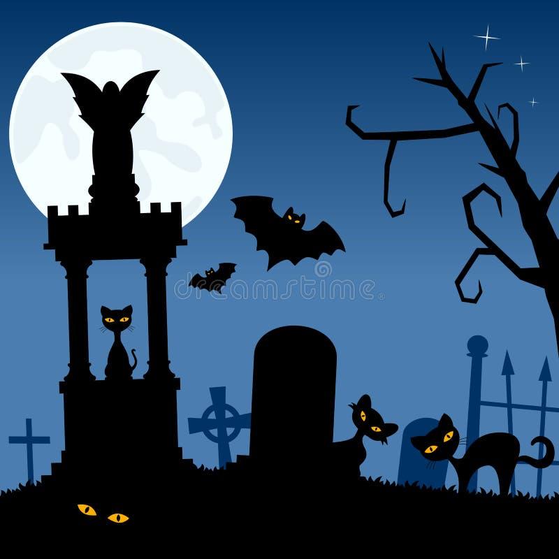 Necropoli con i gatti neri ed i pipistrelli illustrazione di stock