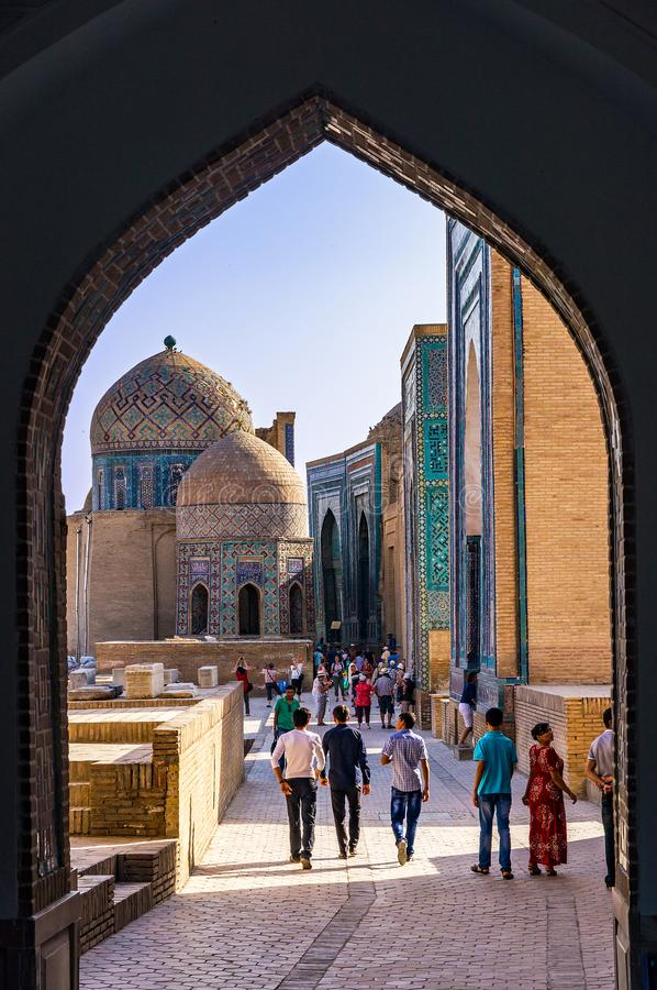 Necropolis Shah-i-Zinda, Samarkand -, Uzbekistan obrazy stock