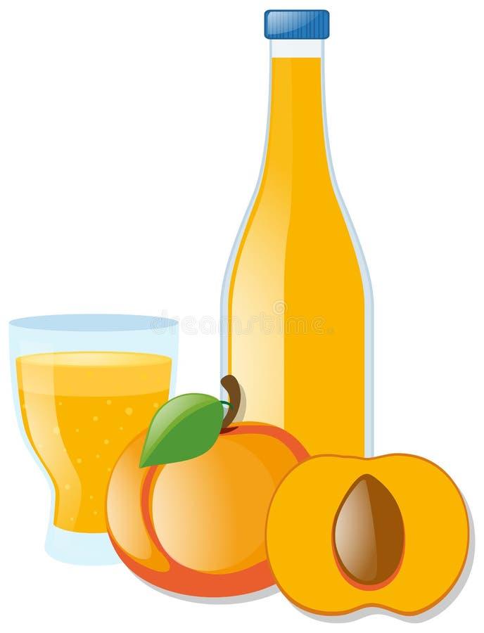Nectarina e suco frescos ilustração stock