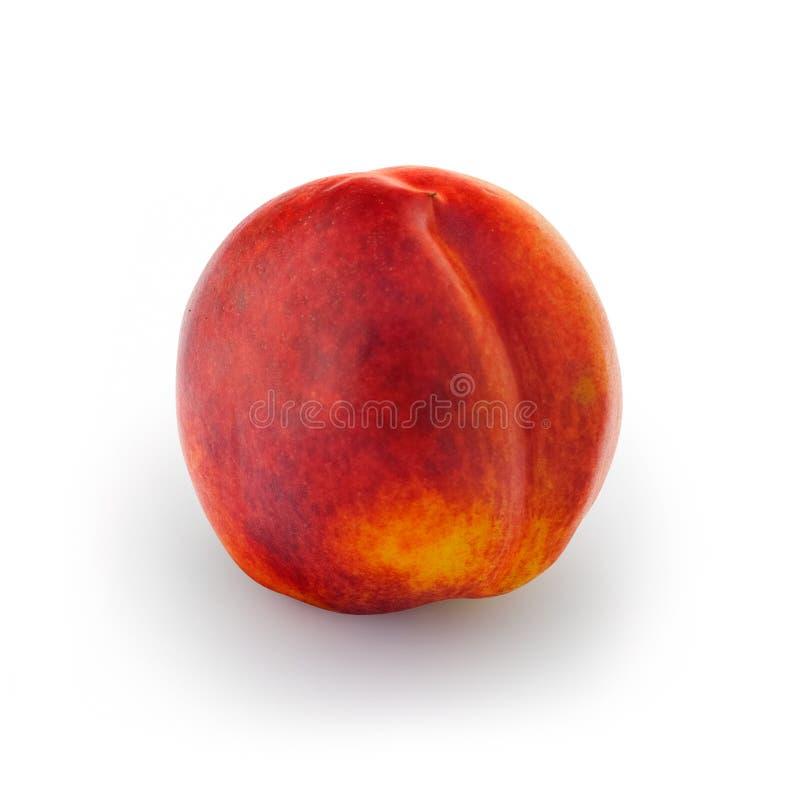 Nectarine. Ripe nectarine peach isolated on white background stock photo