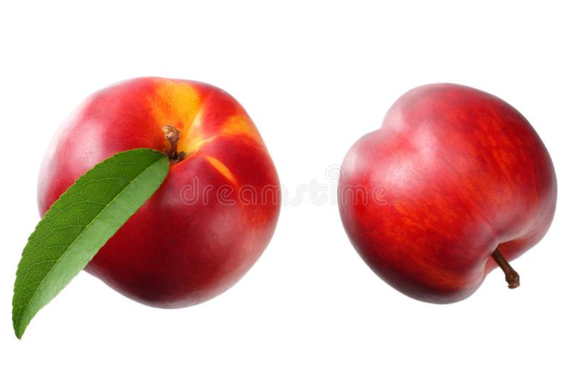 Nectarine with green leaf isolated on a white background. top view stock photo