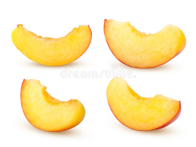 Nectarine or peach, slice,  on white background, clipping path, full depth of field stock photo