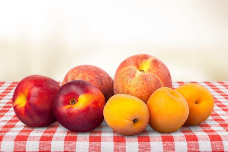 Nectarine. Peaches Apricot Fruit Healthy Eating Variation Freshness royalty free stock photo