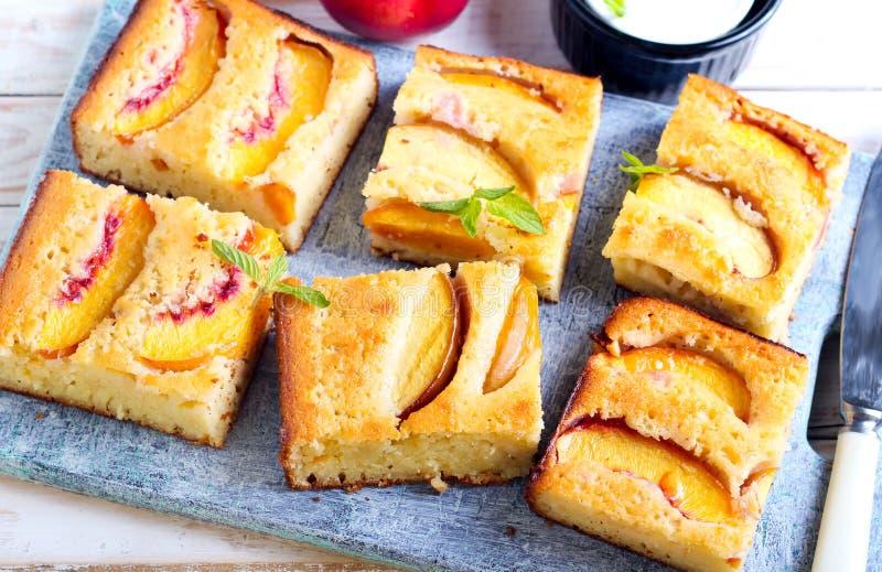 Nectarine polenta cake royalty free stock photos