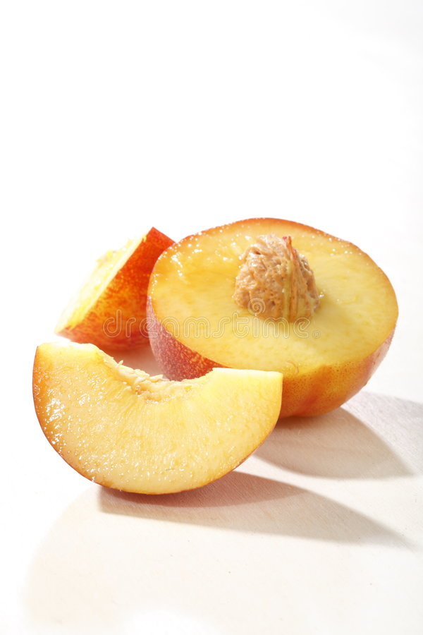Nectarines. On a white background stock photography