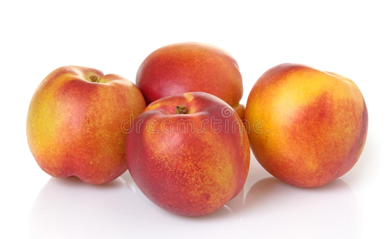 Nectarines. Four whole nectarines in a group royalty free stock photos