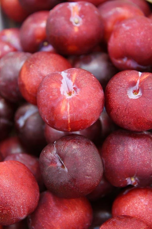 Nectarines fruit. Sweet nectarines fruit on market royalty free stock photos