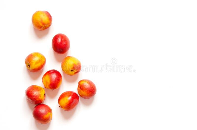 Nectarines mûres d'isolement sur le fond blanc avec l'espace de copie pour votre texte Vue sup?rieure photographie stock