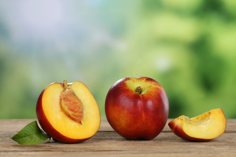 Nectarines in summer with copyspace stock images