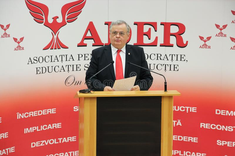 Neculai Ontanu taking a speech at a conference of the ADER. The former Mayor of Sector 2, Neculai Ontanu, taking a speech at a conference of the ADER Adhering to royalty free stock photos