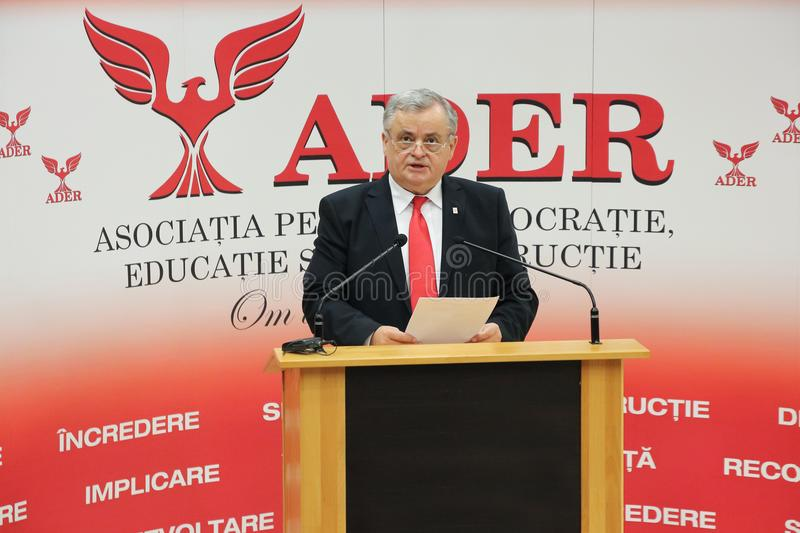 Neculai Ontanu taking a speech at a conference of the ADER. The former Mayor of Sector 2, Neculai Ontanu, taking a speech at a conference of the ADER Adhering to stock photography