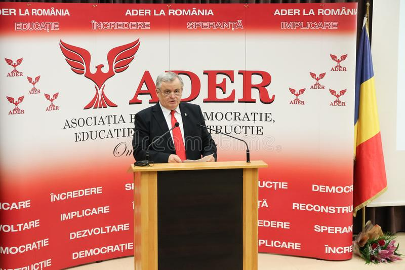 Neculai Ontanu taking a speech at a conference of the ADER. The former Mayor of Sector 2, Neculai Ontanu, taking a speech at a conference of the ADER Adhering to royalty free stock photo