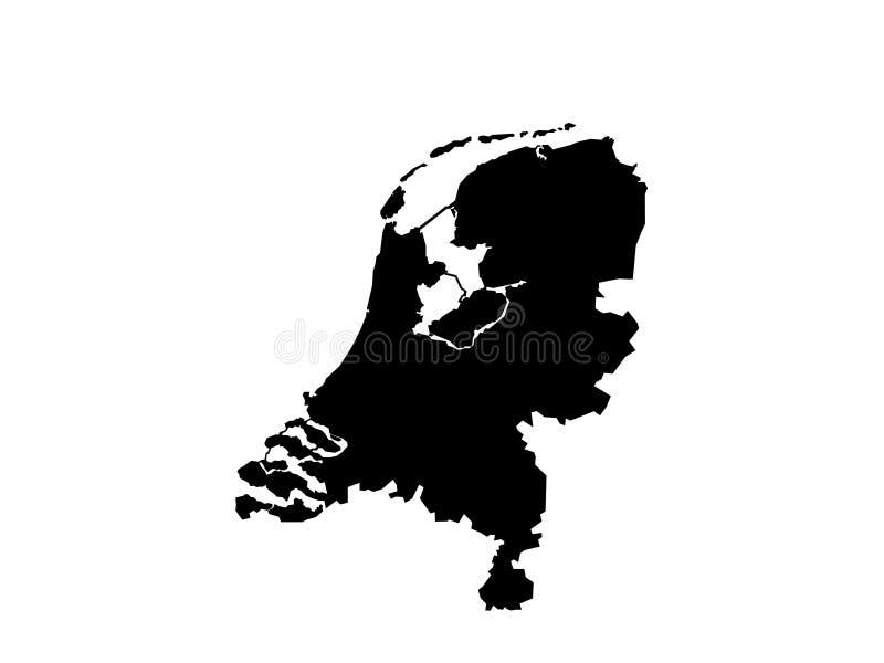 Nederländerna översiktsvektor royaltyfri illustrationer
