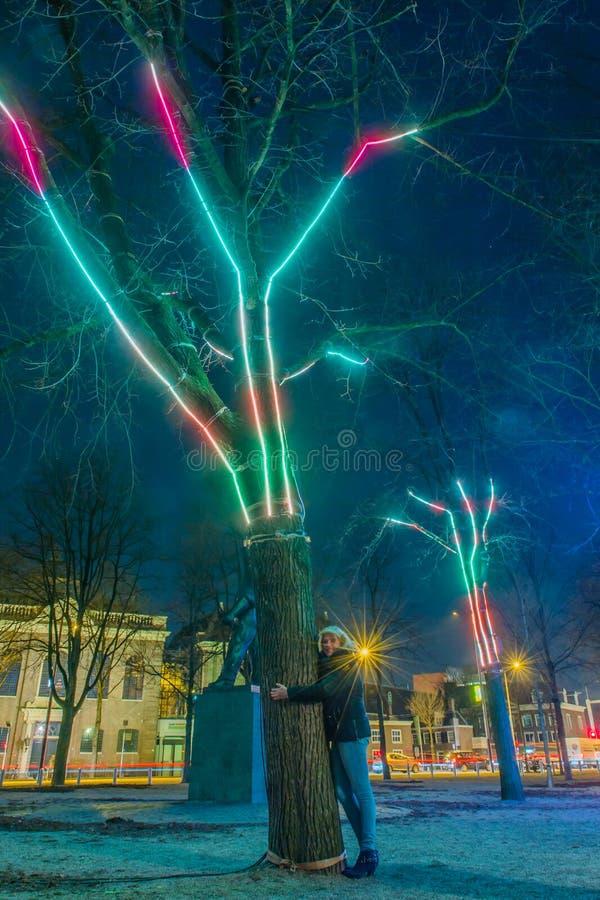 Nederländerna - Amsterdam - Amsterdam ljusfestival 2016-2017 arkivbilder