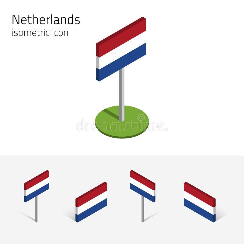 Nederländerna flagga, isometriska symboler för vektor 3D stock illustrationer