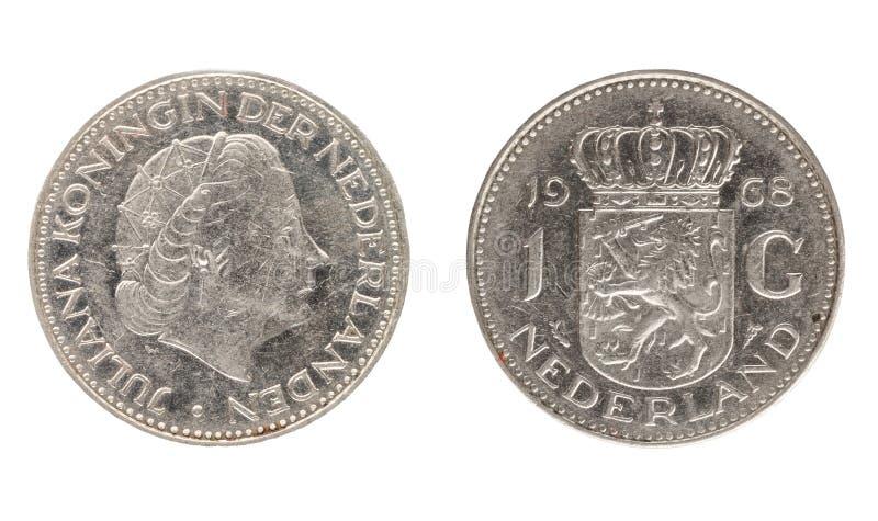 Nederländerna myntar, nominella värdet av 1 gulden royaltyfri foto
