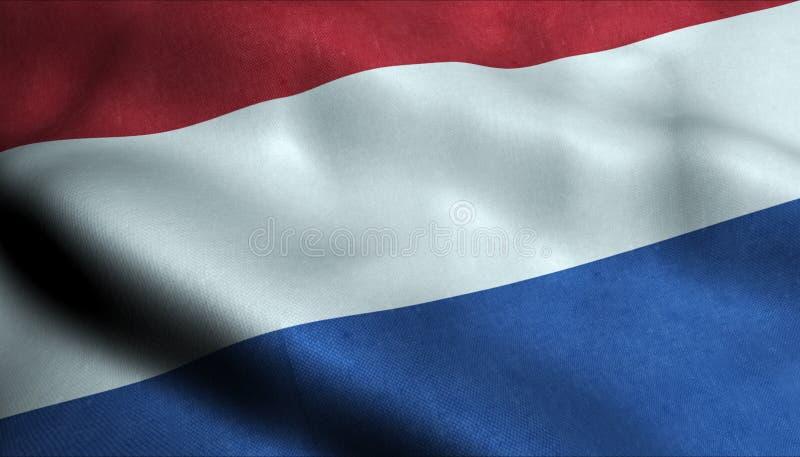Nederländerna som vinkar flaggan i 3D vektor illustrationer