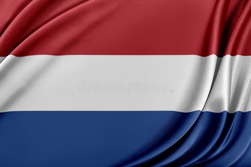 Nederländernaflagga med en glansig siden- textur vektor illustrationer