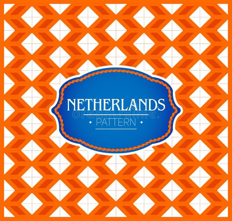Nederländernamodell, sömlös bakgrundstextur och emblem med färgerna av flaggan av Nederländerna vektor illustrationer