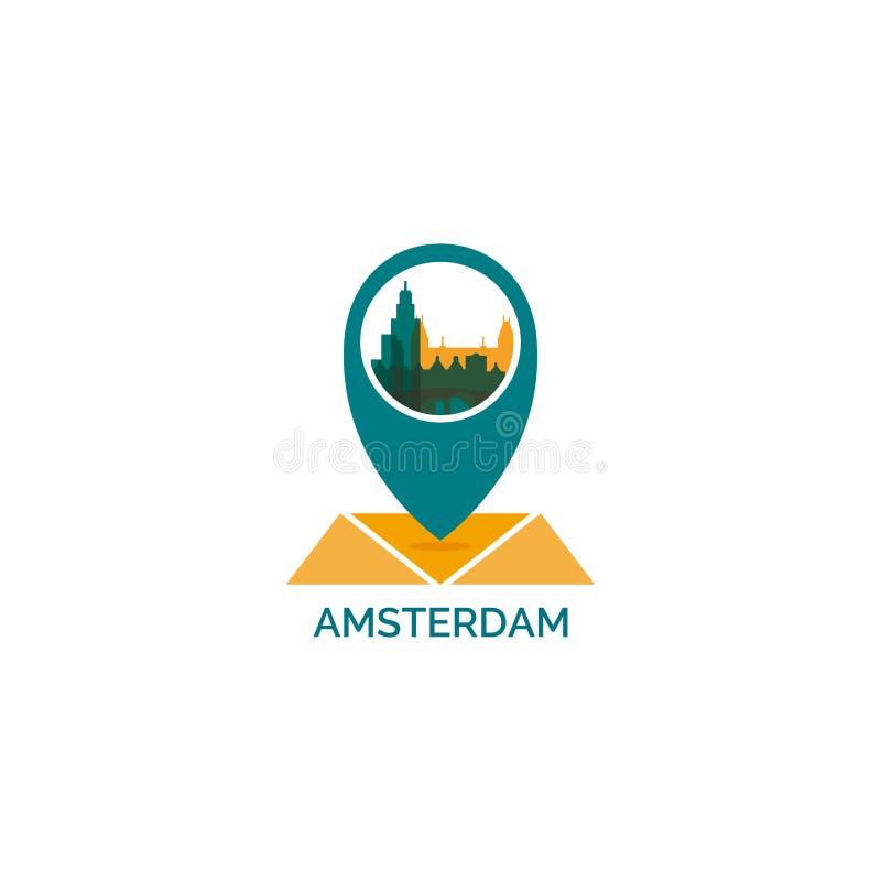 Nederländsk Amsterdam geolocationlogo stock illustrationer
