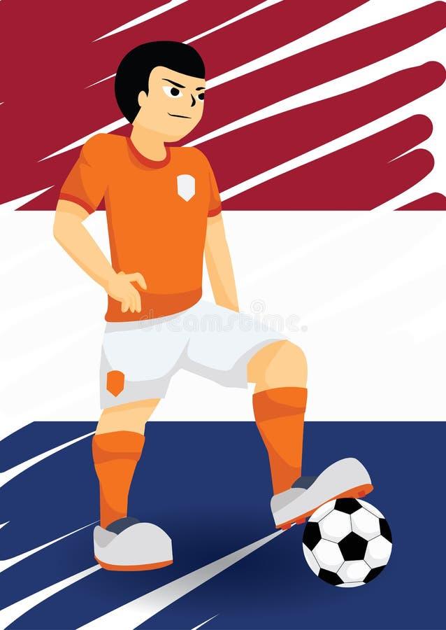 Nederländsk fotbollspelare vektor illustrationer