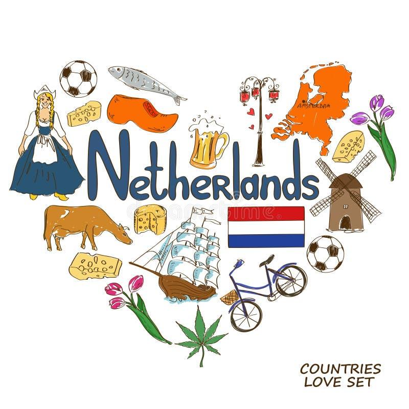 Nederländska symboler i hjärtaformbegrepp royaltyfri illustrationer
