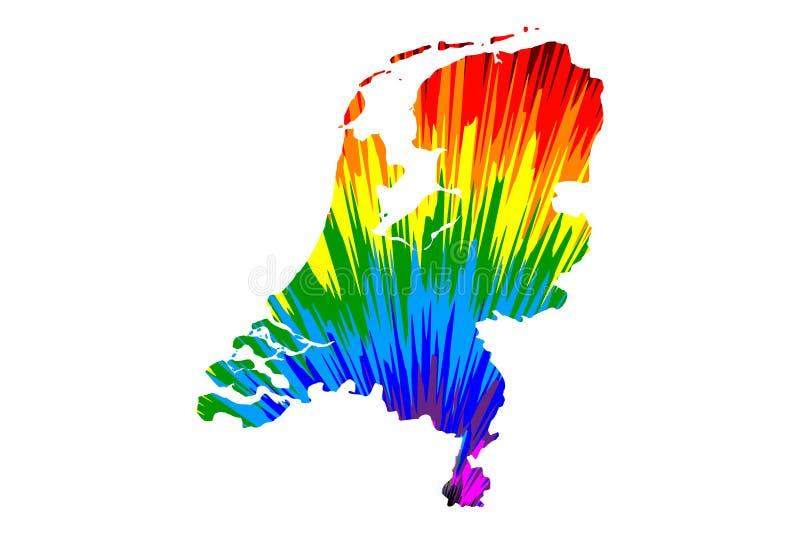 Nederland - de kaart is ontworpen regenboog abstract kleurrijk patroon stock illustratie