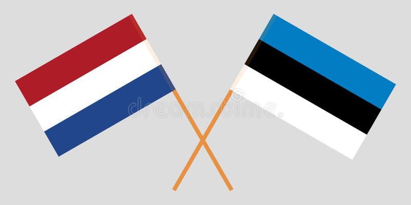 Nederland en Estland Netherlandish en de Estlandse vlaggen Officiële kleuren Correct aandeel Vector stock illustratie