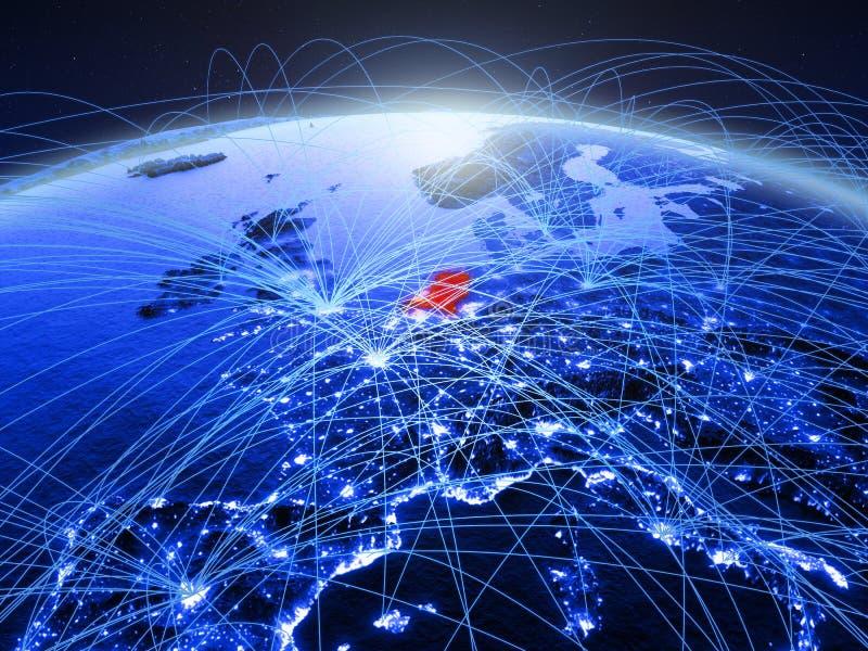 Nederland op blauwe digitale aarde met internationaal netwerk die mededeling, reis en verbindingen vertegenwoordigen 3d stock foto's