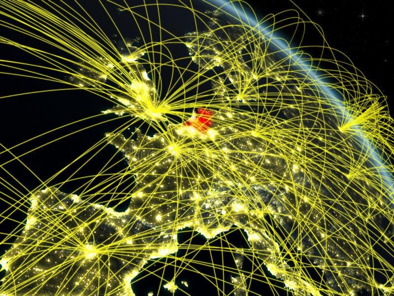 Nederland van ruimte met netwerk vector illustratie