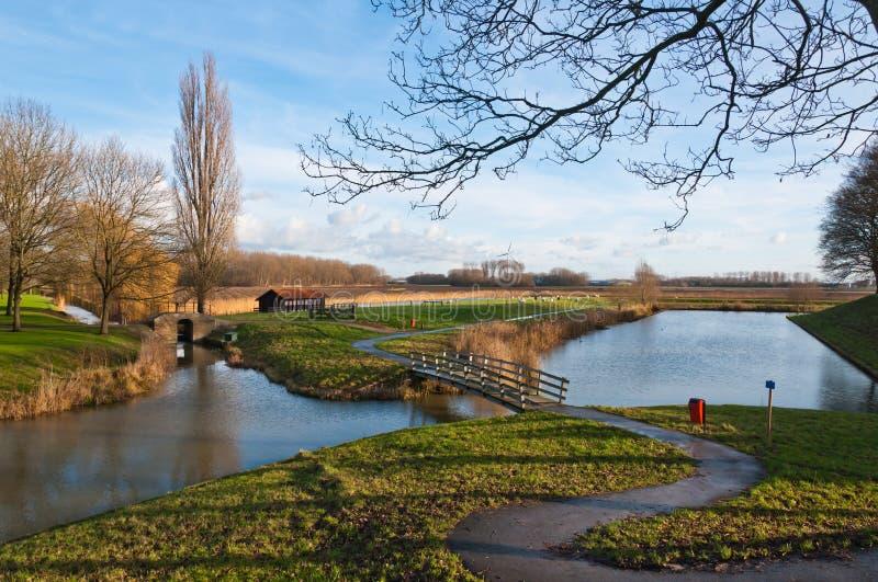 Nederlands landschap in daling royalty-vrije stock foto's