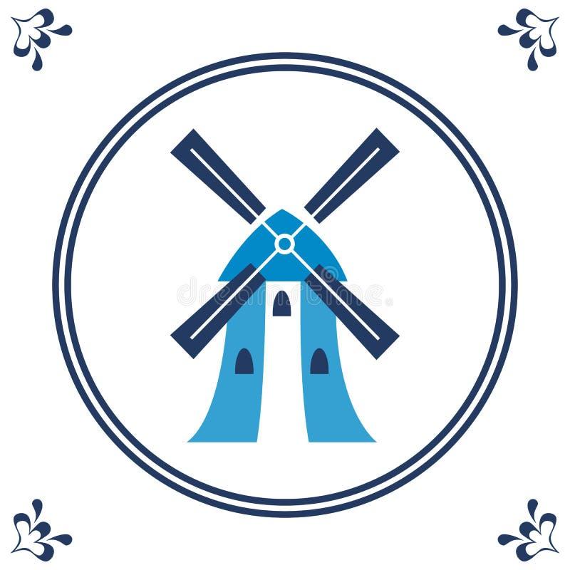 Nederlandse blauwe tegel met windmolen vector illustratie