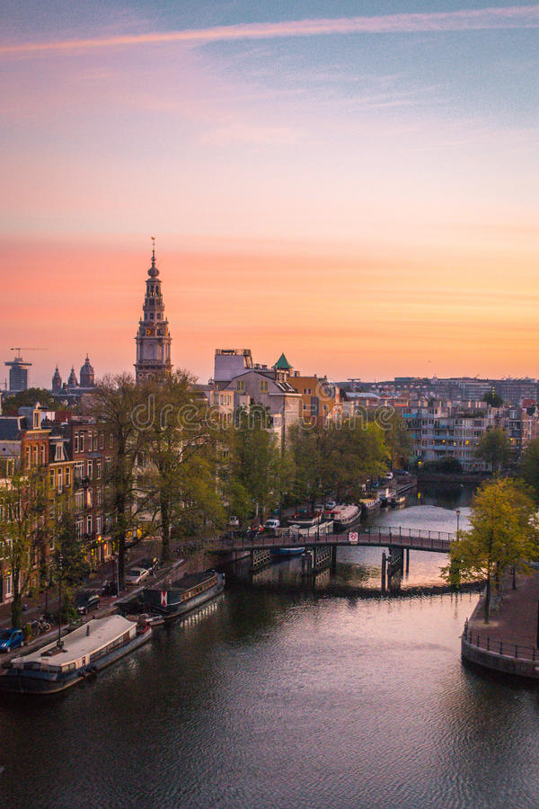 Nederlandse Dawn in Amsterdam stock foto's