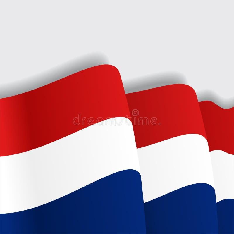 Nederlandse golvende Vlag Vector illustratie stock illustratie