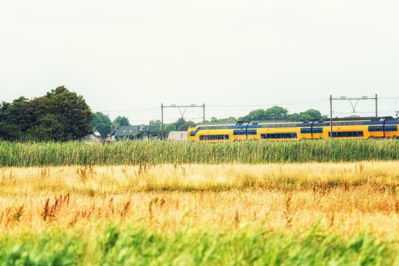Nederlandse Trein in landelijk landschap royalty-vrije stock afbeelding