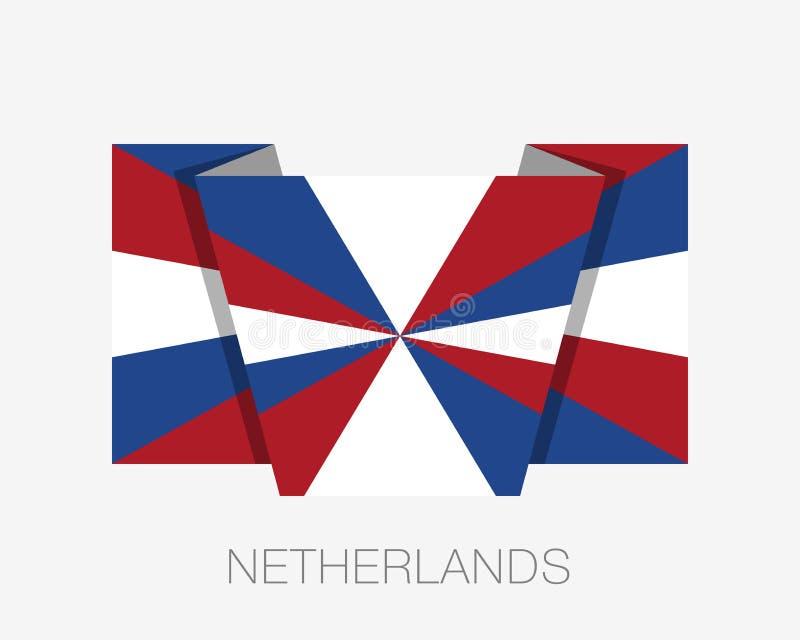 Nederlandse Vlag Prinsengeus Vlakke Pictogram Golvende Vlag met Land N royalty-vrije illustratie