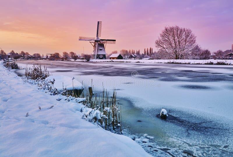 Nederlandse windmolen in de sneeuw van de winter van Holland royalty-vrije stock foto's
