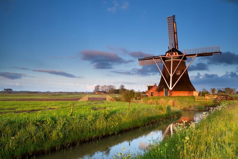 Nederlandse windmolen in het zonlicht van de ochtendzonsopgang stock foto's