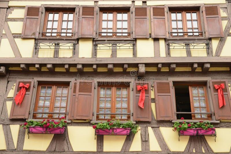 Nederrijn, de schilderachtige stad van Obernai in de Elzas stock fotografie