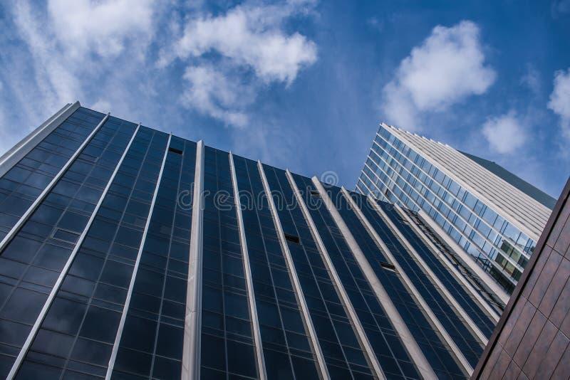 Nedersta sikt av fasader av moderna glass kontorsbyggnader och blå himmel upp den royaltyfri foto