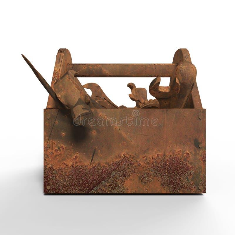 Nedfläckad utsliten toolbox med rostiga hjälpmedel, skiftnyckel, skruvnyckel, hammare, skruvmejsel framförande illustrationbadkni arkivbild