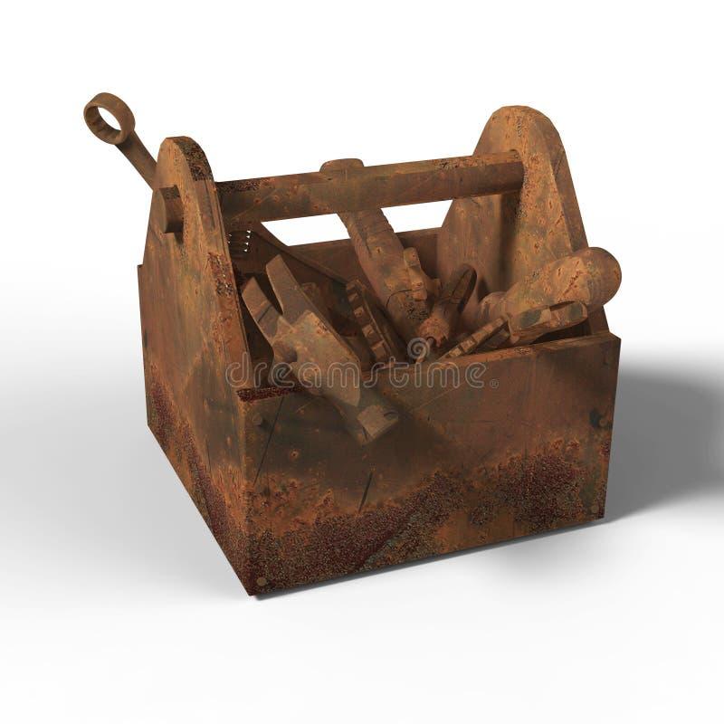 Nedfläckad utsliten toolbox med rostiga hjälpmedel, skiftnyckel, skruvnyckel, hammare, skruvmejsel framförande illustrationbadkni royaltyfri fotografi