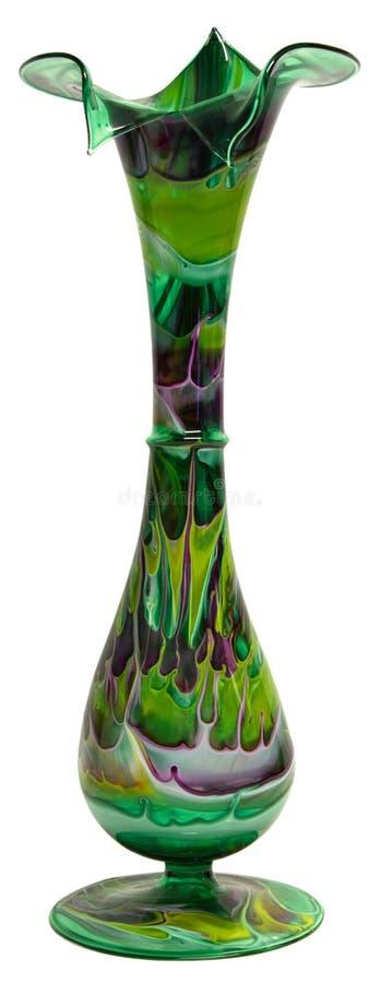 nedfläckad vase för blommaexponeringsglas arkivbild