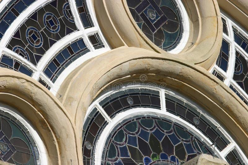 nedfläckadt fönster för exponeringsglas arkivbild