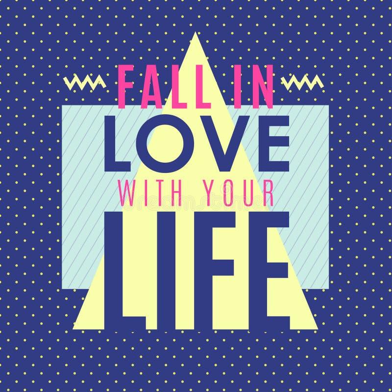 Nedgång i förälskelsen med ditt liv stock illustrationer