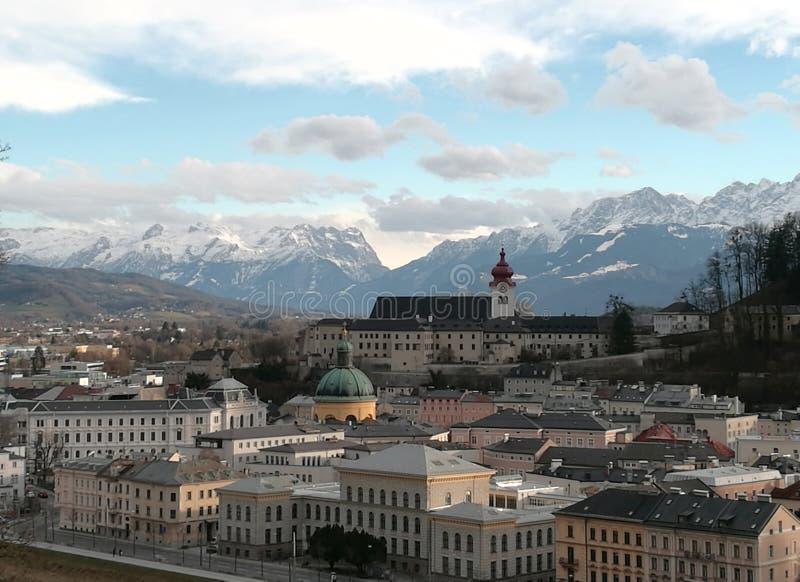 Nedgång som är förälskad med Salzburg royaltyfri fotografi