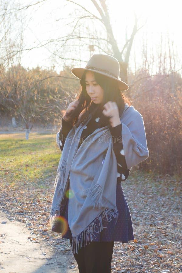 Nedgång ung asiatisk kvinna 7 för höst arkivfoto